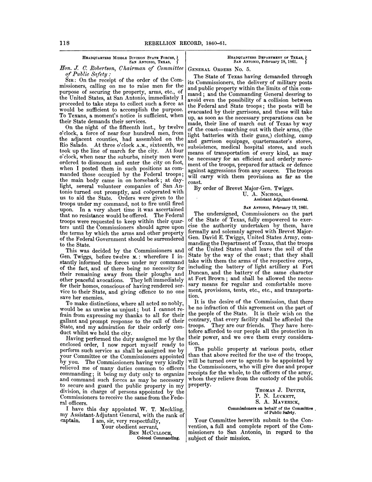 The treachery in Texas, the secession of Texas, and the arrest of the United States officers and soldiers serving in Texas. Read before the New-York Historical Society, June 25, 1861. By Major J. T. Sprague, U. S. A.                                                                                                      [Sequence #]: 12 of 36