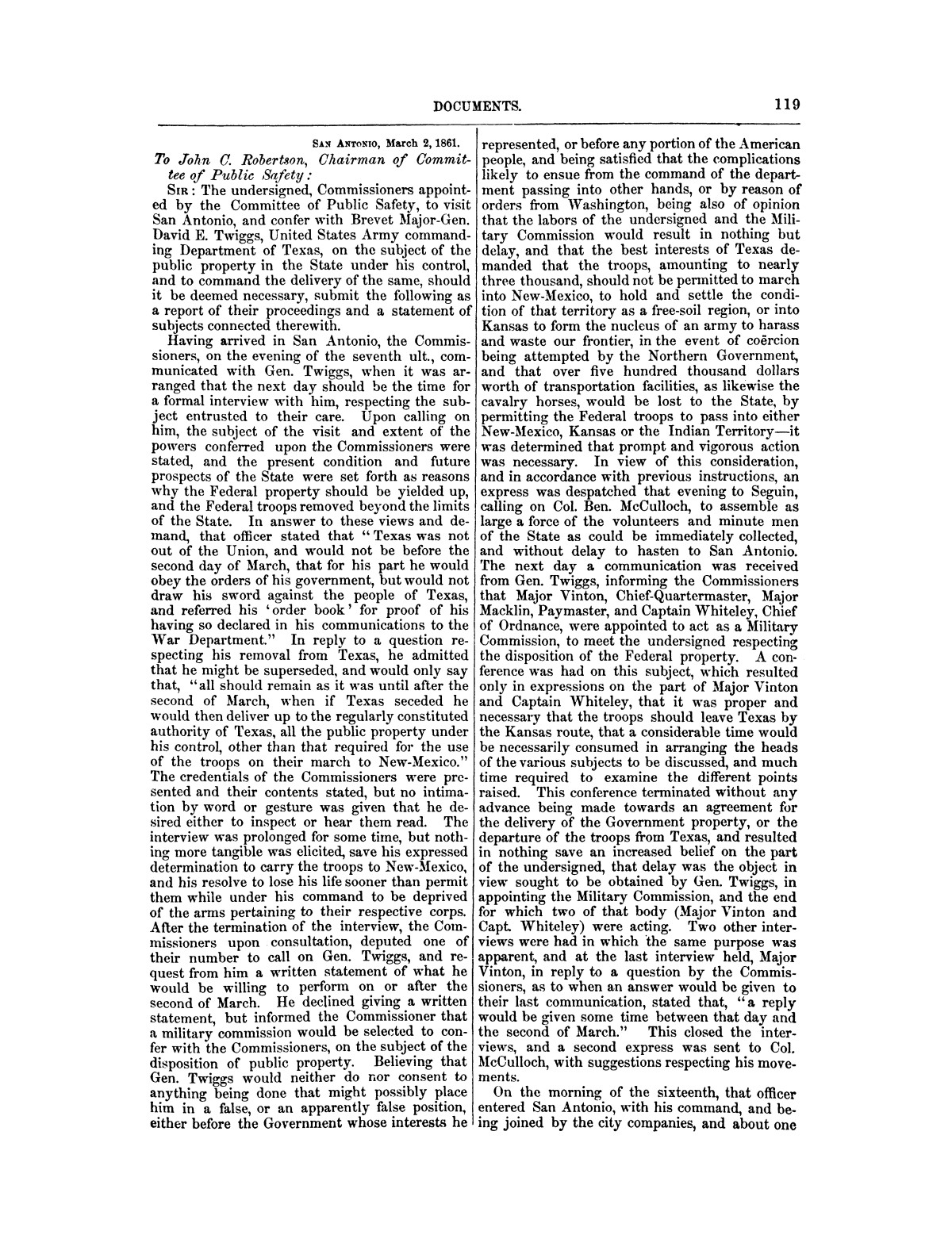 The treachery in Texas, the secession of Texas, and the arrest of the United States officers and soldiers serving in Texas. Read before the New-York Historical Society, June 25, 1861. By Major J. T. Sprague, U. S. A.                                                                                                      [Sequence #]: 13 of 36