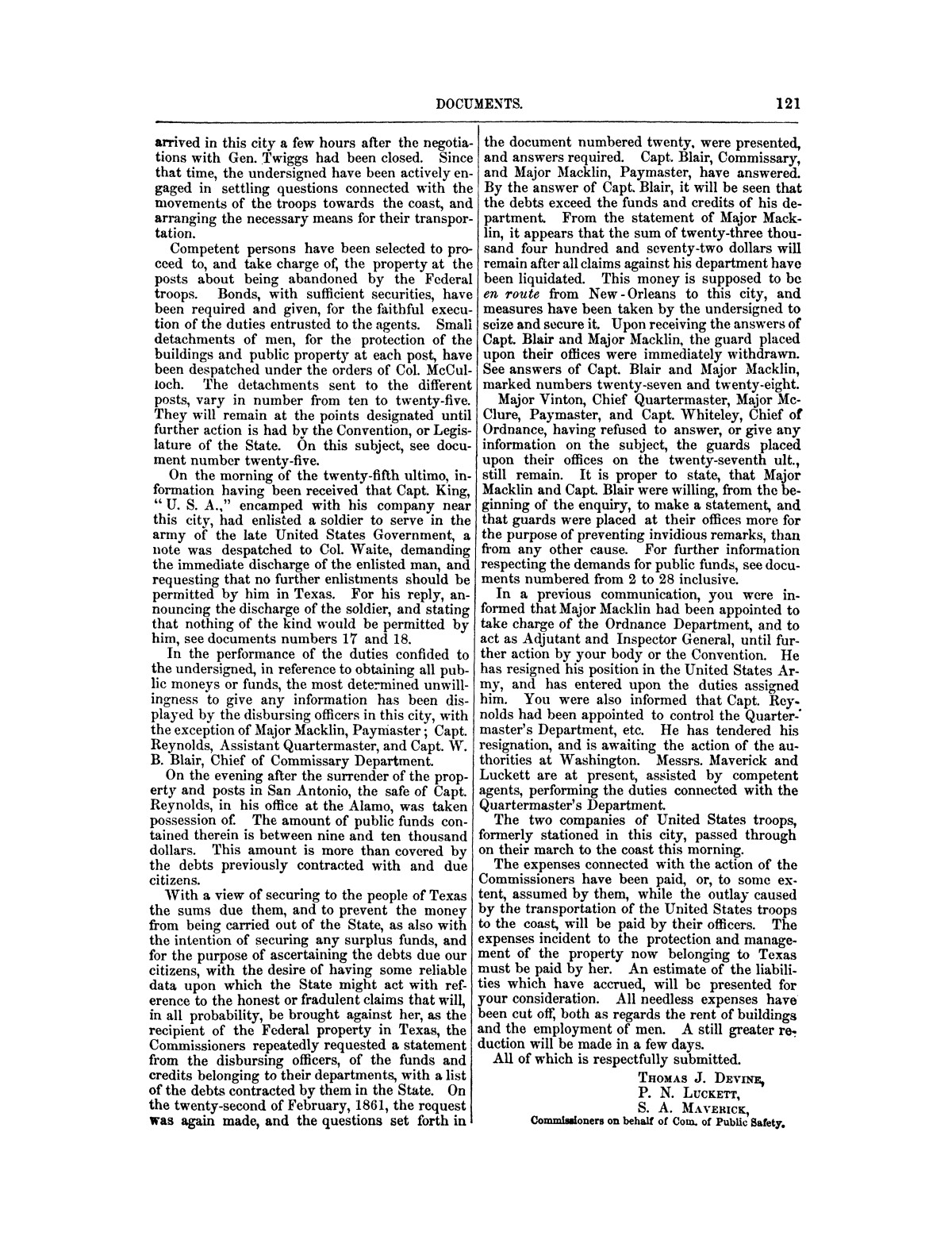 The treachery in Texas, the secession of Texas, and the arrest of the United States officers and soldiers serving in Texas. Read before the New-York Historical Society, June 25, 1861. By Major J. T. Sprague, U. S. A.                                                                                                      [Sequence #]: 15 of 36