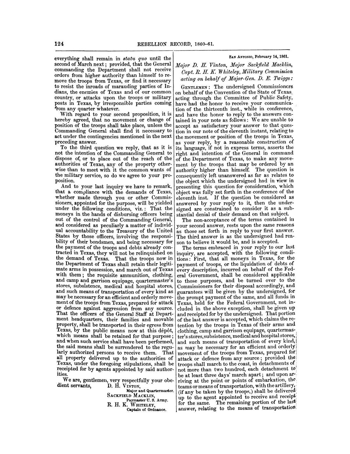 The treachery in Texas, the secession of Texas, and the arrest of the United States officers and soldiers serving in Texas. Read before the New-York Historical Society, June 25, 1861. By Major J. T. Sprague, U. S. A.                                                                                                      [Sequence #]: 18 of 36