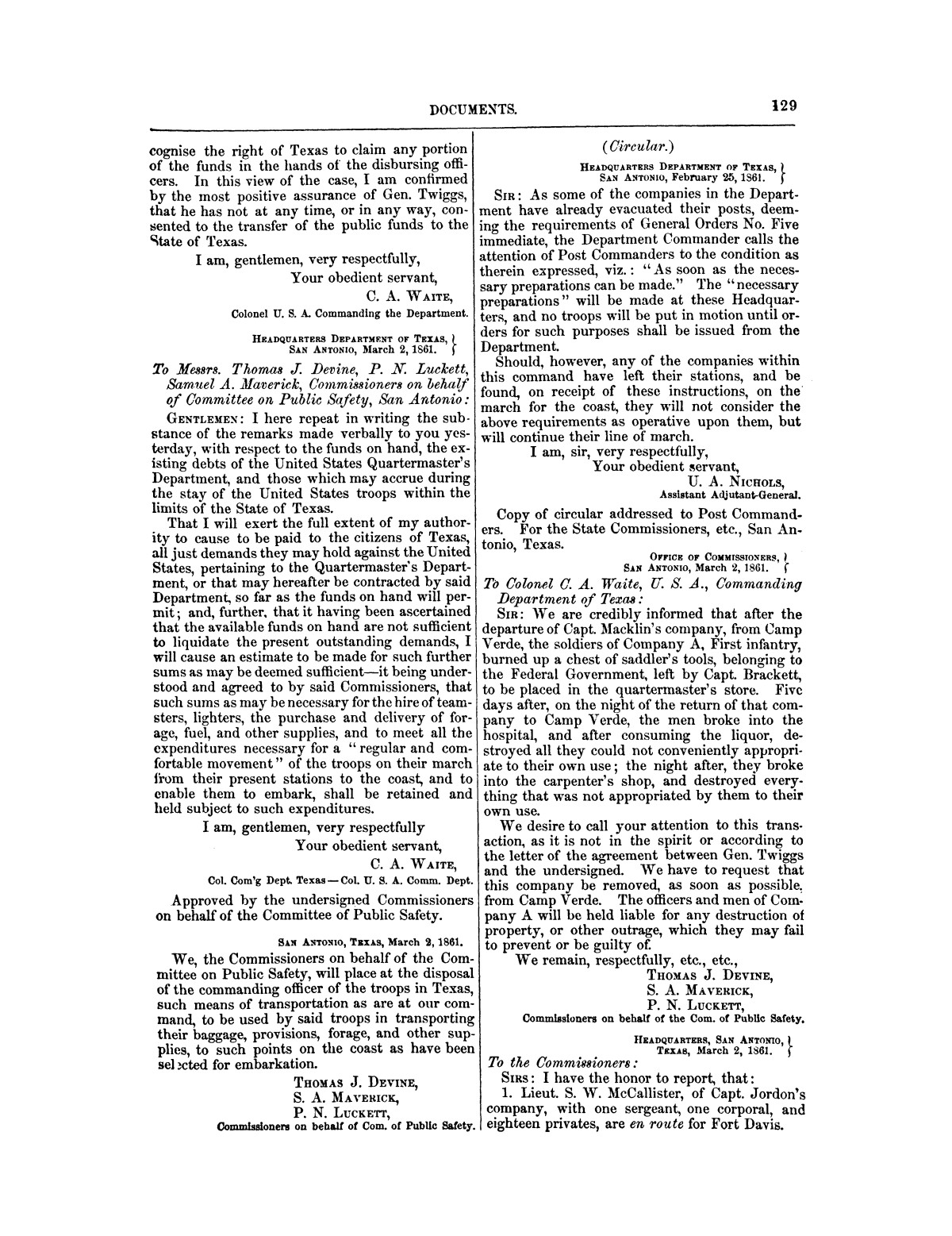 The treachery in Texas, the secession of Texas, and the arrest of the United States officers and soldiers serving in Texas. Read before the New-York Historical Society, June 25, 1861. By Major J. T. Sprague, U. S. A.                                                                                                      [Sequence #]: 23 of 36