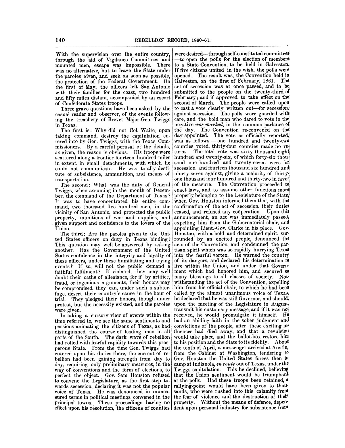 The treachery in Texas, the secession of Texas, and the arrest of the United States officers and soldiers serving in Texas. Read before the New-York Historical Society, June 25, 1861. By Major J. T. Sprague, U. S. A.                                                                                                      [Sequence #]: 34 of 36