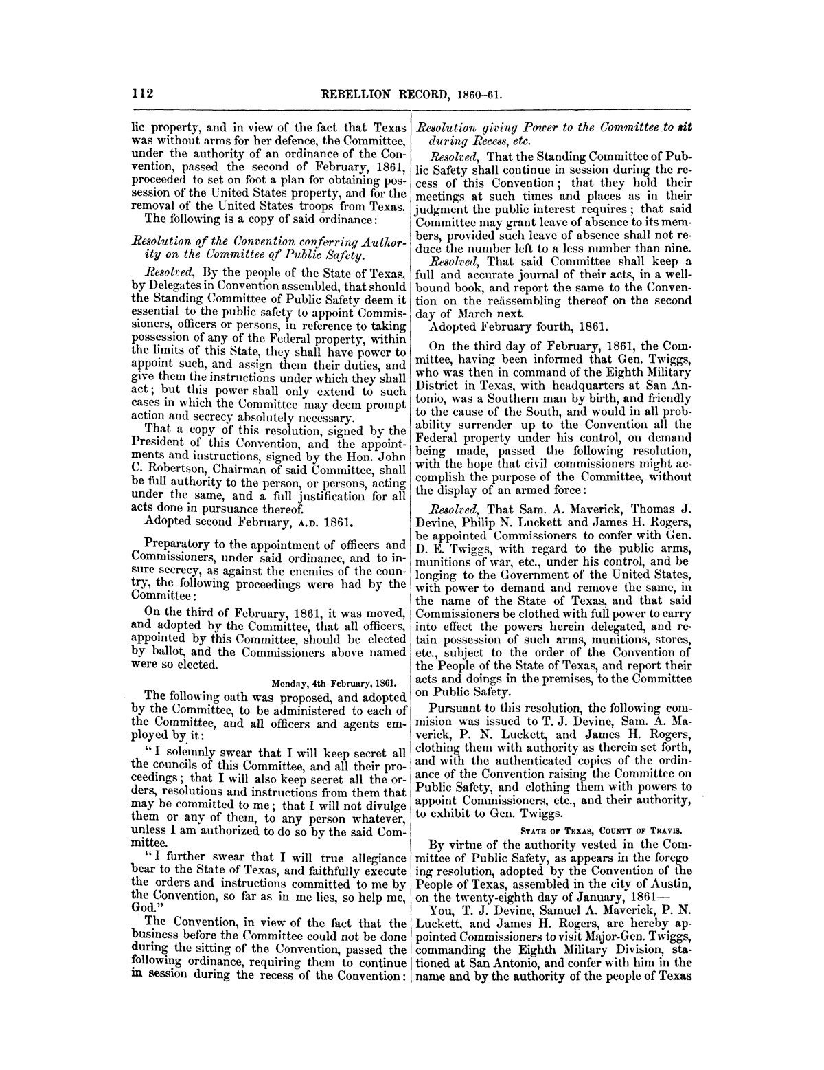 The treachery in Texas, the secession of Texas, and the arrest of the United States officers and soldiers serving in Texas. Read before the New-York Historical Society, June 25, 1861. By Major J. T. Sprague, U. S. A.                                                                                                      [Sequence #]: 6 of 36