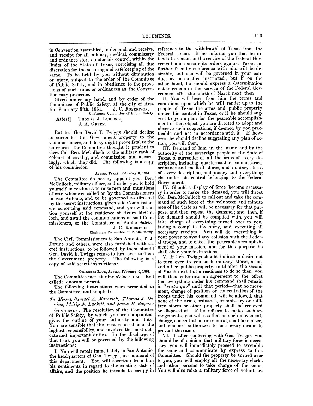 The treachery in Texas, the secession of Texas, and the arrest of the United States officers and soldiers serving in Texas. Read before the New-York Historical Society, June 25, 1861. By Major J. T. Sprague, U. S. A.                                                                                                      [Sequence #]: 7 of 36