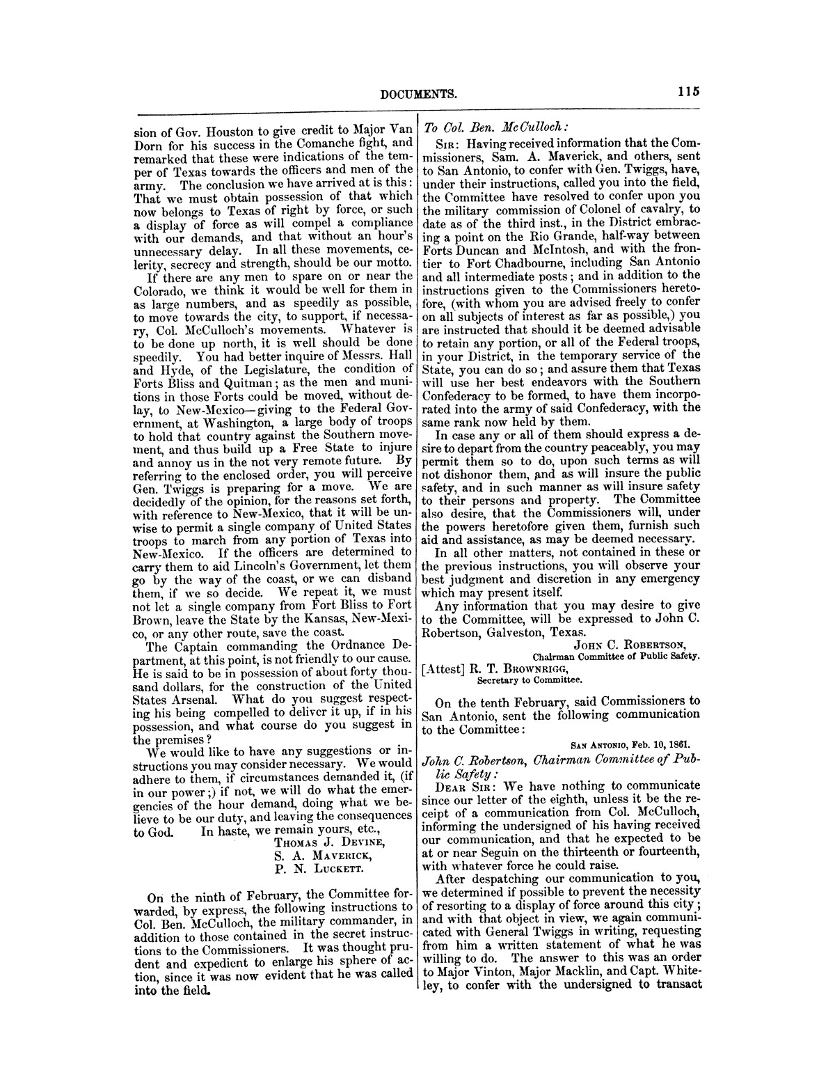 The treachery in Texas, the secession of Texas, and the arrest of the United States officers and soldiers serving in Texas. Read before the New-York Historical Society, June 25, 1861. By Major J. T. Sprague, U. S. A.                                                                                                      [Sequence #]: 9 of 36