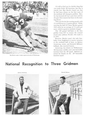 White page with a picture of two football players on top left corner, and  2 pictures of 2 different men on bottom half of page. The words National  Recognition to Three Gridmen are in between the pictures, with a block of  several paragraphs on top right corner.