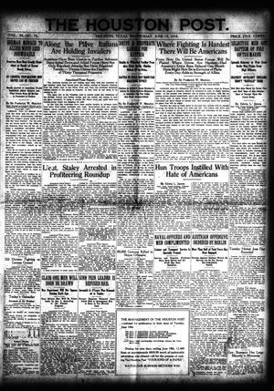 Primary view of object titled 'The Houston Post. (Houston, Tex.), Vol. 34, No. 76, Ed. 1 Wednesday, June 19, 1918'.