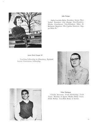 Página blanca con una foto de una mujer en la parte superior izquierda, una foto de un hombre en el medio a la derecha, y otra fota de un hombre en la parte inferior derecha.