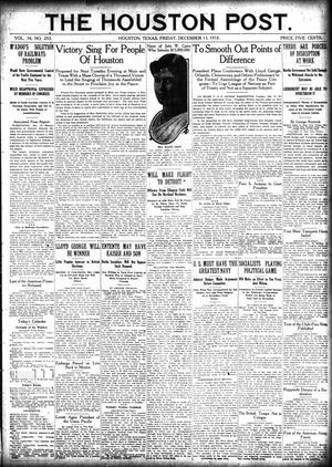 Primary view of object titled 'The Houston Post. (Houston, Tex.), Vol. 34, No. 253, Ed. 1 Friday, December 13, 1918'.