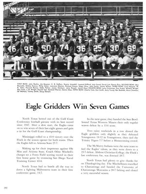 A yearbook page. At the top half of the page is a whole football team in their uniforms sitting in rows in bleachers. Under it is the title Eagle Gridders Win Seven Games, with two columns of paragraphs under it.