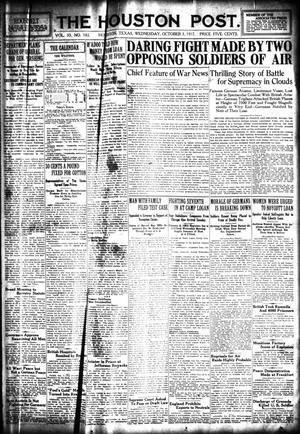 Primary view of object titled 'The Houston Post. (Houston, Tex.), Vol. 33, No. 182, Ed. 1 Wednesday, October 3, 1917'.
