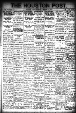 Primary view of object titled 'The Houston Post. (Houston, Tex.), Vol. 36, No. 322, Ed. 1 Saturday, February 19, 1921'.
