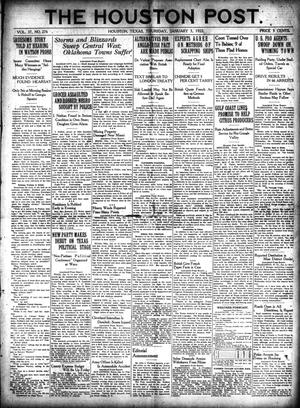 Primary view of object titled 'The Houston Post. (Houston, Tex.), Vol. 37, No. 276, Ed. 1 Thursday, January 5, 1922'.