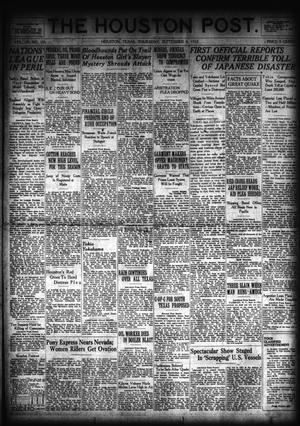 Primary view of object titled 'The Houston Post. (Houston, Tex.), Vol. 39, No. 155, Ed. 1 Thursday, September 6, 1923'.