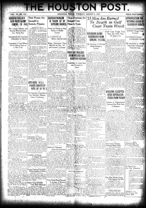 Primary view of object titled 'The Houston Post. (Houston, Tex.), Vol. 37, No. 127, Ed. 1 Tuesday, August 9, 1921'.
