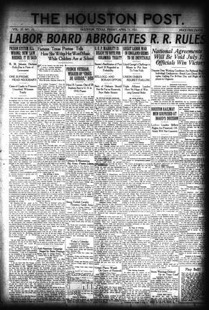 Primary view of object titled 'The Houston Post. (Houston, Tex.), Vol. 37, No. 10, Ed. 1 Friday, April 15, 1921'.