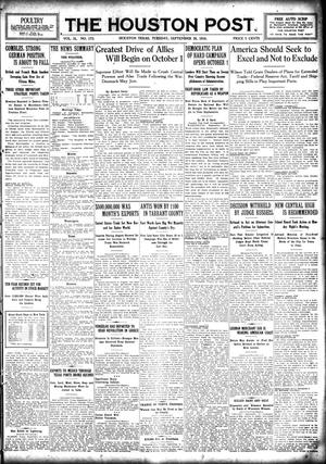 Primary view of object titled 'The Houston Post. (Houston, Tex.), Vol. 31, No. 175, Ed. 1 Tuesday, September 26, 1916'.