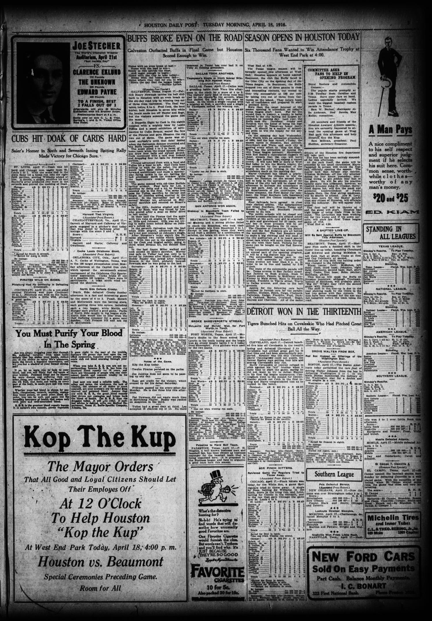 The Houston Post. (Houston, Tex.), Vol. 31, No. 14, Ed. 1 Tuesday, April 18, 1916                                                                                                      [Sequence #]: 3 of 14
