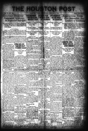 Primary view of object titled 'The Houston Post. (Houston, Tex.), Vol. 36, No. 305, Ed. 1 Wednesday, February 2, 1921'.