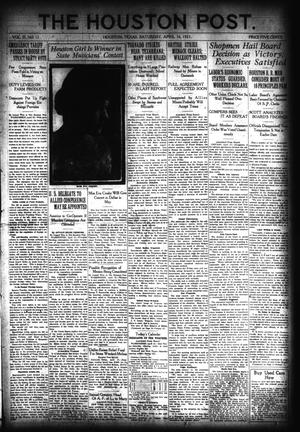 Primary view of object titled 'The Houston Post. (Houston, Tex.), Vol. 37, No. 12, Ed. 1 Saturday, April 16, 1921'.