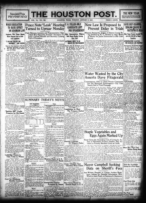 Primary view of object titled 'The Houston Post. (Houston, Tex.), Vol. 31, No. 280, Ed. 1 Tuesday, January 9, 1917'.