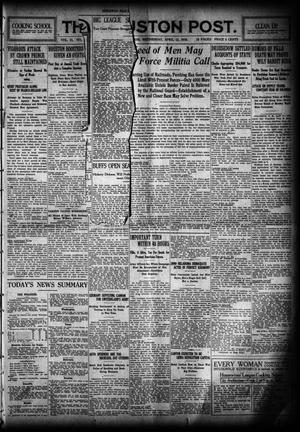 Primary view of object titled 'The Houston Post. (Houston, Tex.), Vol. 31, No. 8, Ed. 1 Wednesday, April 12, 1916'.