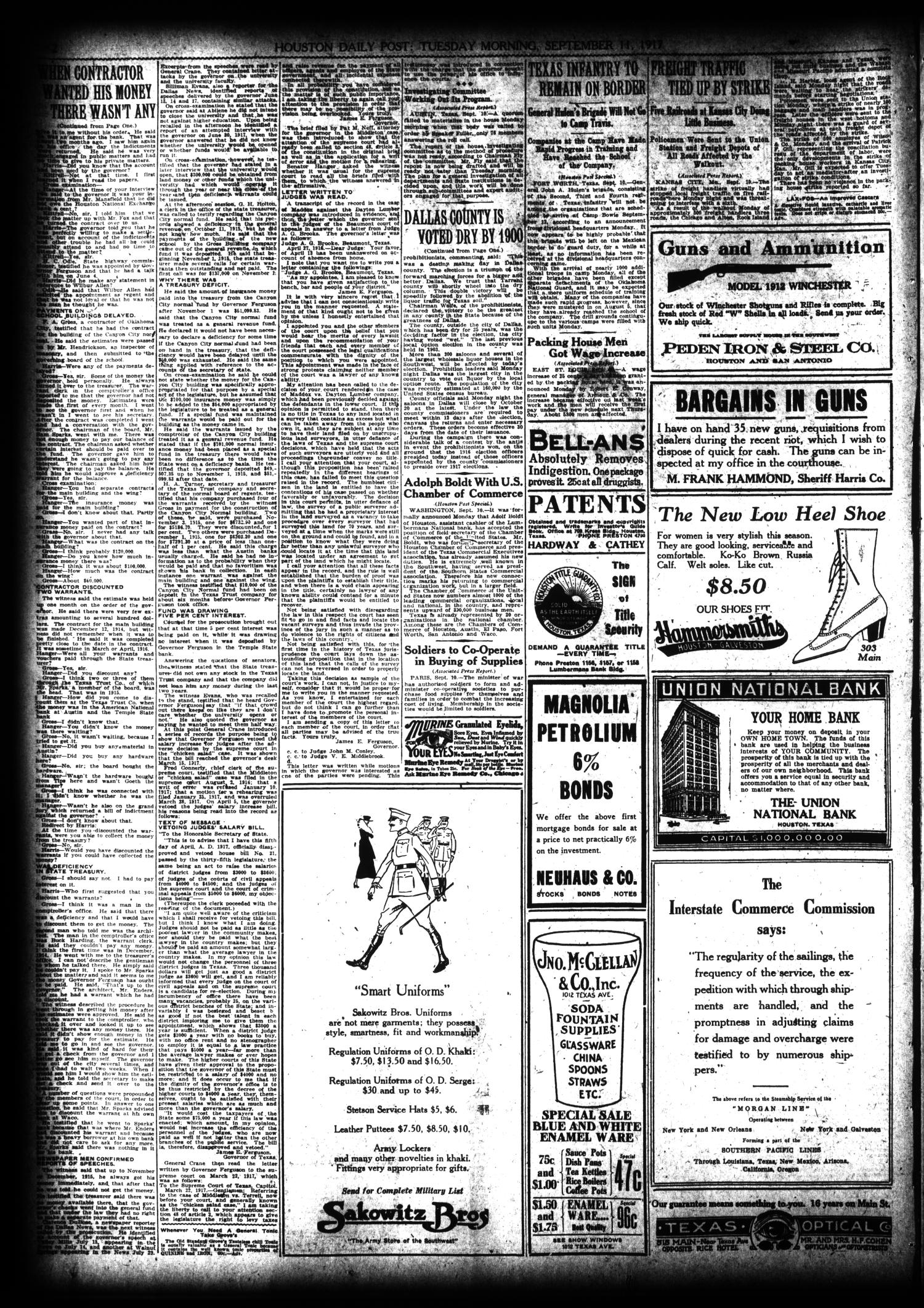 The Houston Post. (Houston, Tex.), Vol. 33, No. 160, Ed. 1 Tuesday, September 11, 1917                                                                                                      [Sequence #]: 2 of 14