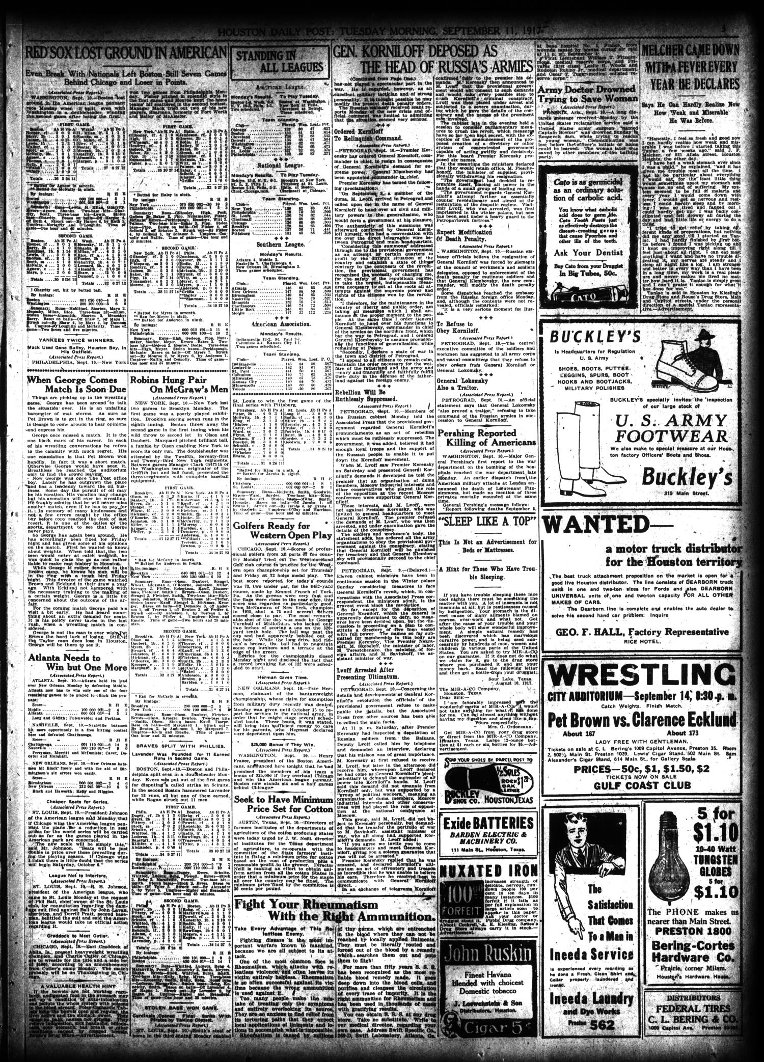 The Houston Post. (Houston, Tex.), Vol. 33, No. 160, Ed. 1 Tuesday, September 11, 1917                                                                                                      [Sequence #]: 3 of 14
