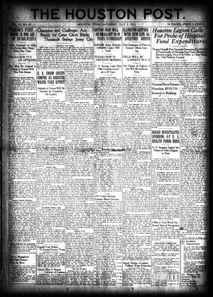 Primary view of object titled 'The Houston Post. (Houston, Tex.), Vol. 37, No. 89, Ed. 1 Saturday, July 2, 1921'.