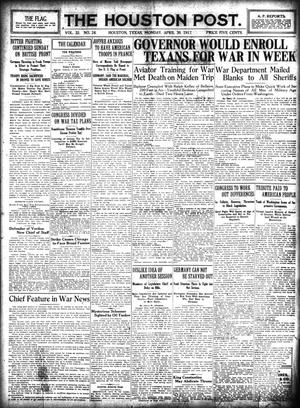 Primary view of object titled 'The Houston Post. (Houston, Tex.), Vol. 32, No. 26, Ed. 1 Monday, April 30, 1917'.