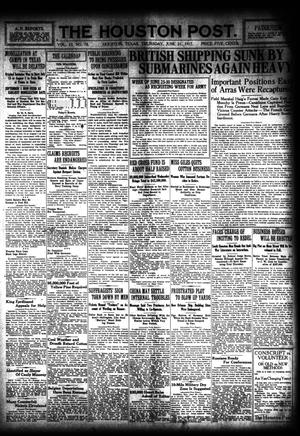 Primary view of object titled 'The Houston Post. (Houston, Tex.), Vol. 33, No. 78, Ed. 1 Thursday, June 21, 1917'.