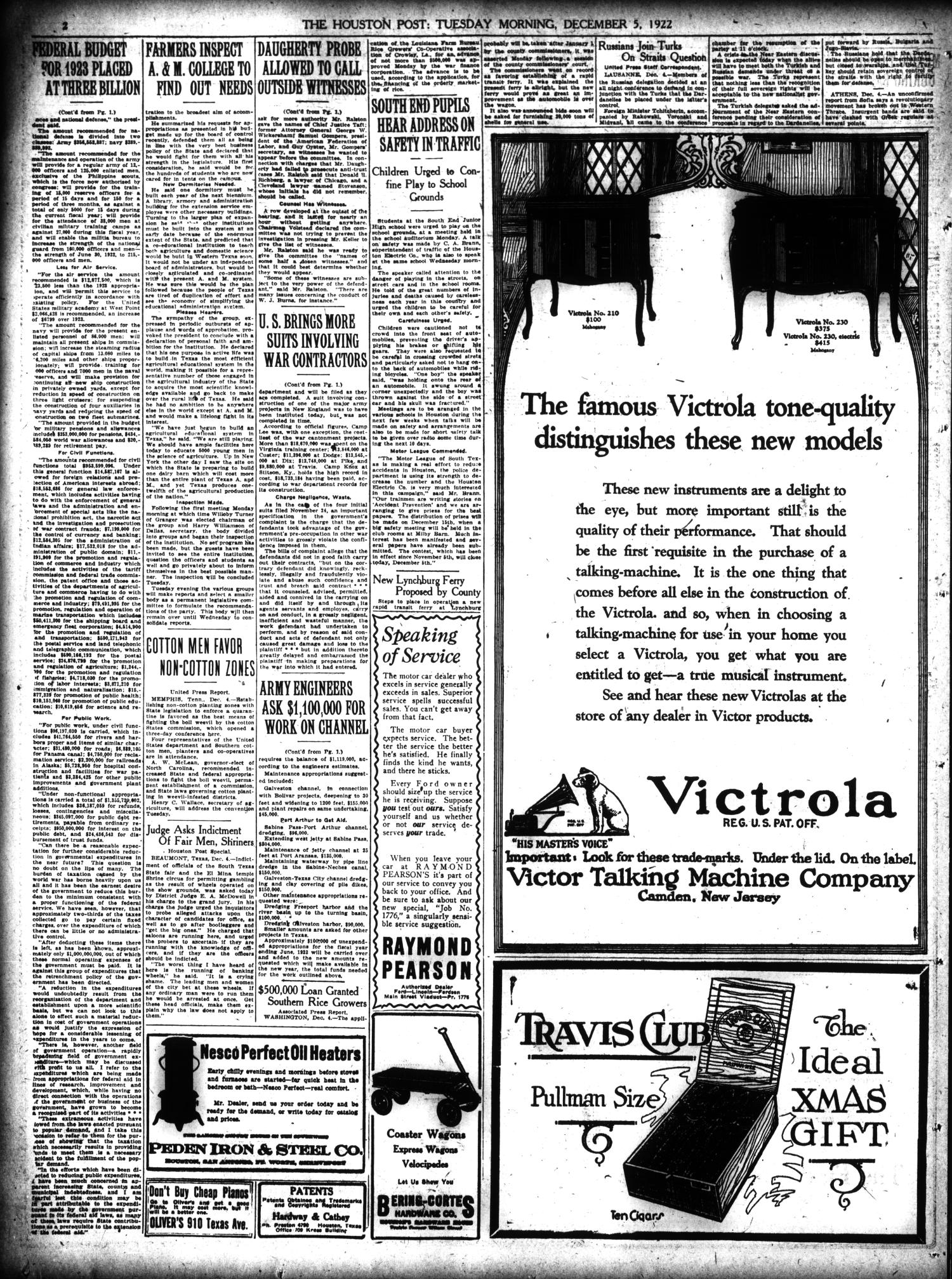 The Houston Post. (Houston, Tex.), Vol. 38, No. 245, Ed. 1 Tuesday, December 5, 1922                                                                                                      [Sequence #]: 2 of 14