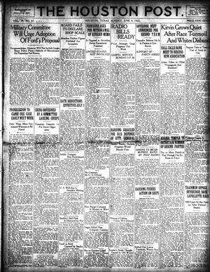 Primary view of object titled 'The Houston Post. (Houston, Tex.), Vol. 38, No. 61, Ed. 1 Sunday, June 4, 1922'.