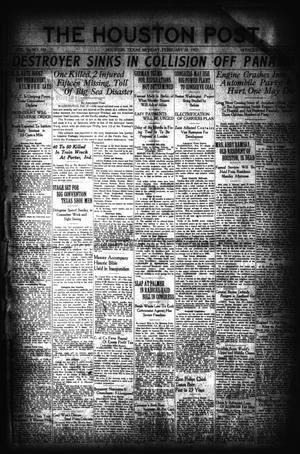 Primary view of object titled 'The Houston Post. (Houston, Tex.), Vol. 36, No. 331, Ed. 1 Monday, February 28, 1921'.