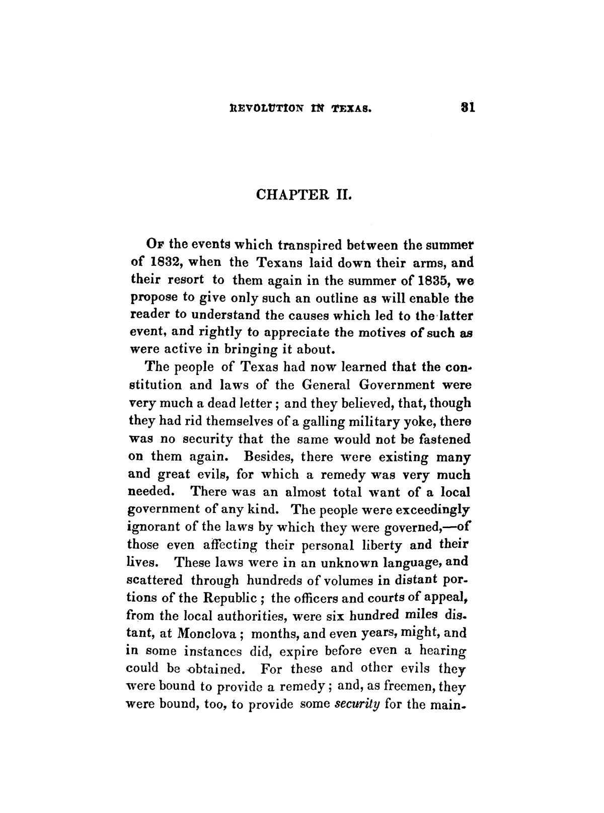 History of the revolution in Texas, particularly of the war of 1835 & '36; together with the latest geographical, topographical, and statistical accounts of the country, from the most authentic sources. Also, an appendix. By the Rev. C. Newell.                                                                                                      [Sequence #]: 43 of 227