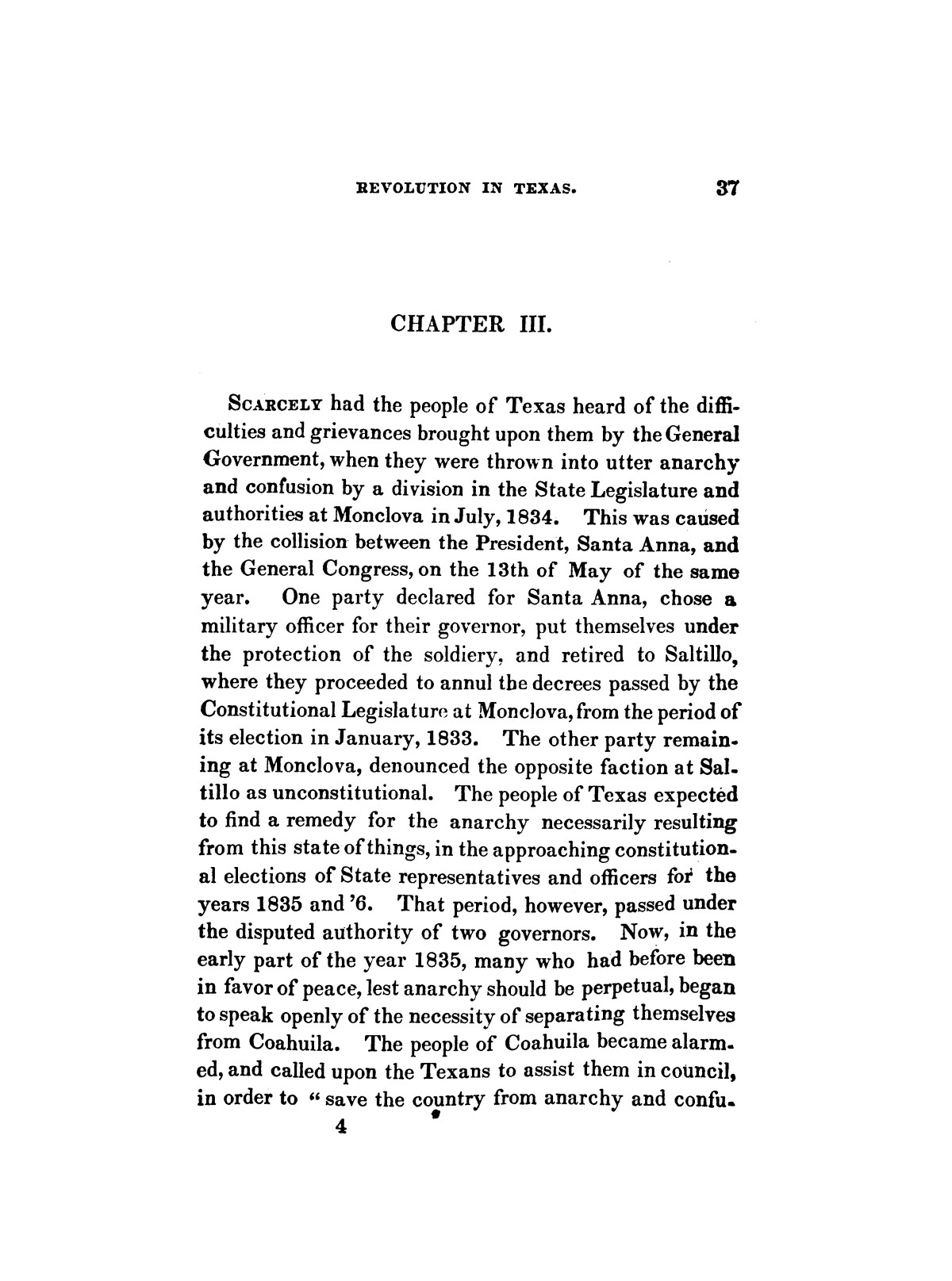 History of the revolution in Texas, particularly of the war of 1835 & '36; together with the latest geographical, topographical, and statistical accounts of the country, from the most authentic sources. Also, an appendix. By the Rev. C. Newell.                                                                                                      [Sequence #]: 49 of 227