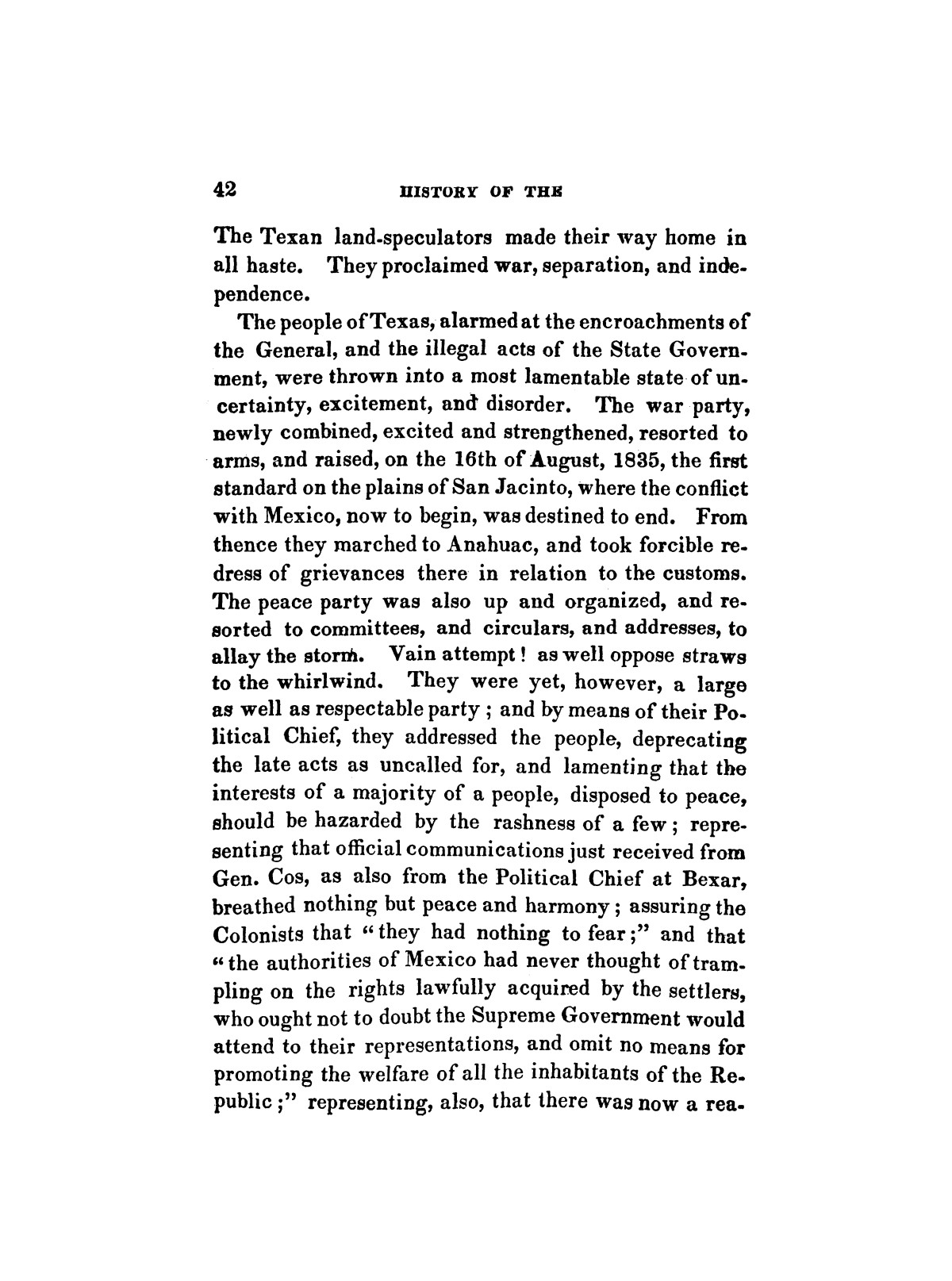 History of the revolution in Texas, particularly of the war of 1835 & '36; together with the latest geographical, topographical, and statistical accounts of the country, from the most authentic sources. Also, an appendix. By the Rev. C. Newell.                                                                                                      [Sequence #]: 54 of 227