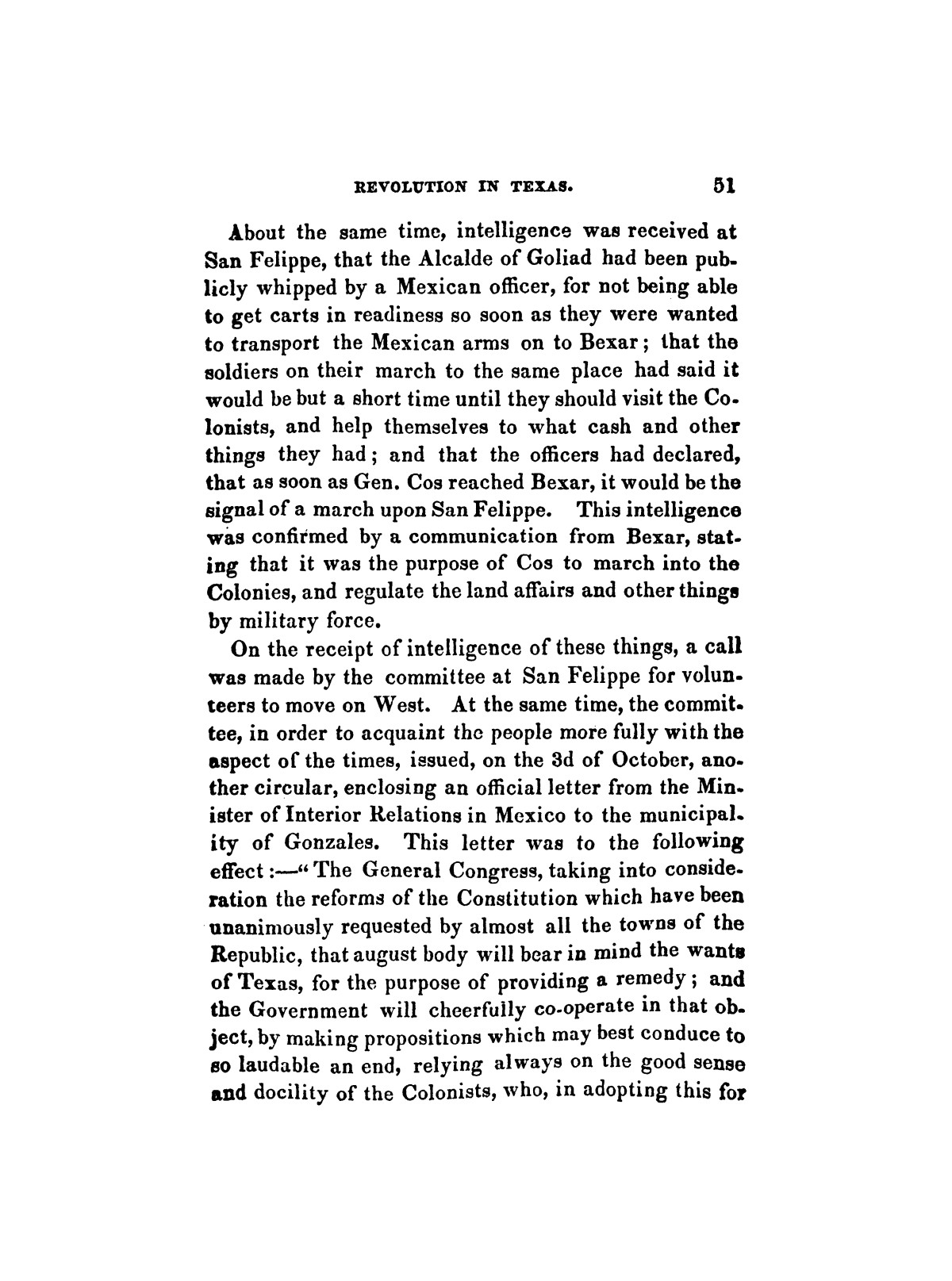 History of the revolution in Texas, particularly of the war of 1835 & '36; together with the latest geographical, topographical, and statistical accounts of the country, from the most authentic sources. Also, an appendix. By the Rev. C. Newell.                                                                                                      [Sequence #]: 63 of 227
