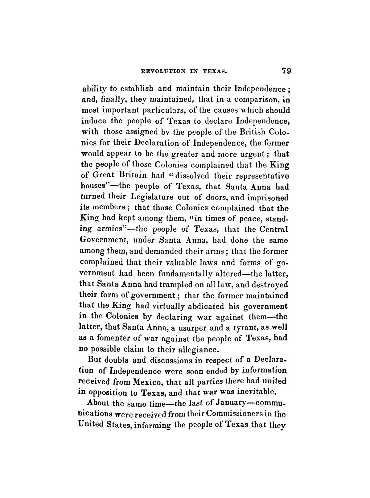 History of the revolution in Texas, particularly of the war of 1835 & '36; together with the latest geographical, topographical, and statistical accounts of the country, from the most authentic sources. Also, an appendix. By the Rev. C. Newell.                                                                                                      [Sequence #]: 91 of 227