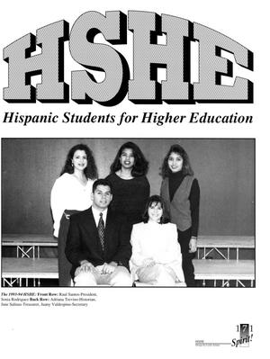 A white page with the letters HSHE at the top in big letters. Under it is Hispanic Students for Higher Education. Under that is a picture of 4 women and one man in 2 rows.