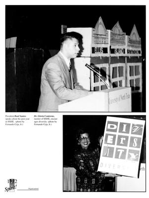 A white yearbook page. The top half of the page is a photo of a man standing at a podium. The right half of the bottom of the page is a photograph of a woman holding a poster.