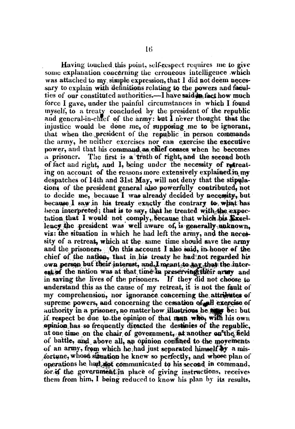 Evacuation of Texas : translation of the Representation addressed to the supreme government / by Vicente Filisola, in defence of his honor, and explanation of his operations as commander-in-chief of the army against Texas.                                                                                                      [Sequence #]: 19 of 72