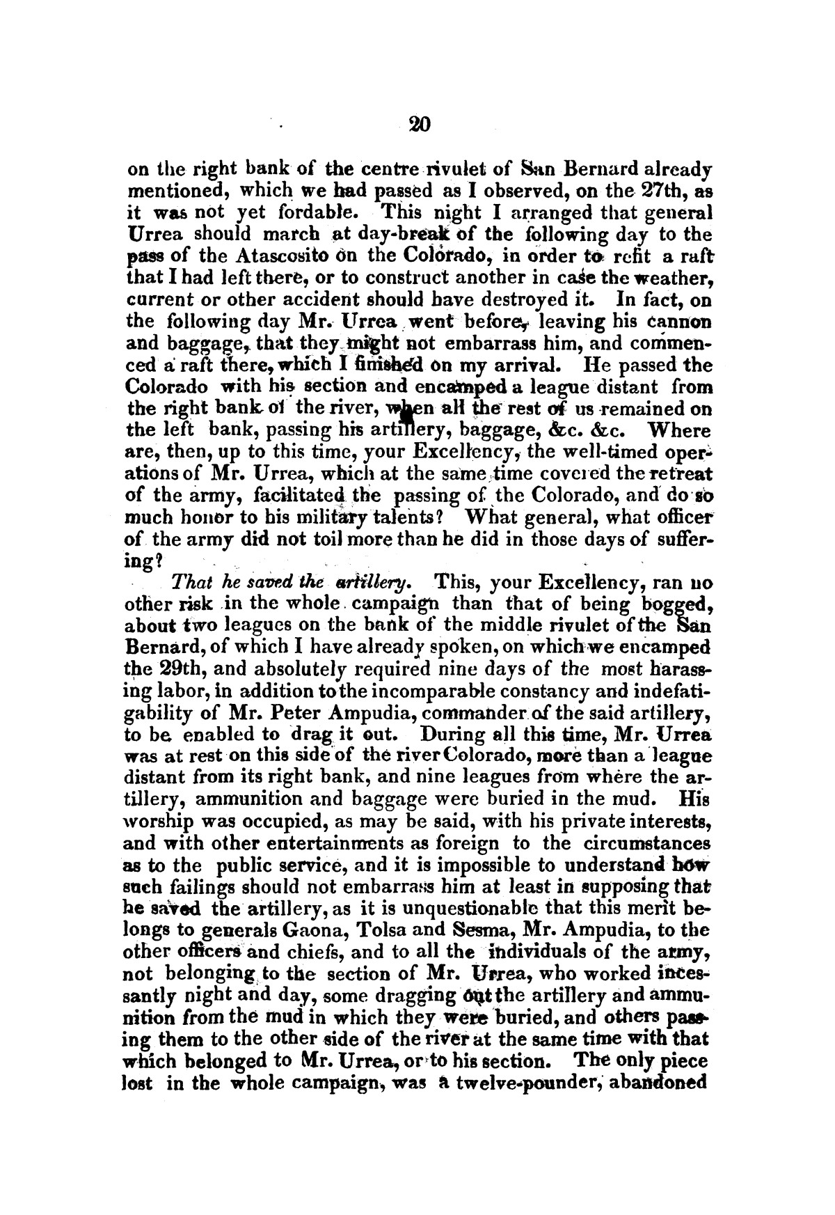 Evacuation of Texas : translation of the Representation addressed to the supreme government / by Vicente Filisola, in defence of his honor, and explanation of his operations as commander-in-chief of the army against Texas.                                                                                                      [Sequence #]: 23 of 72