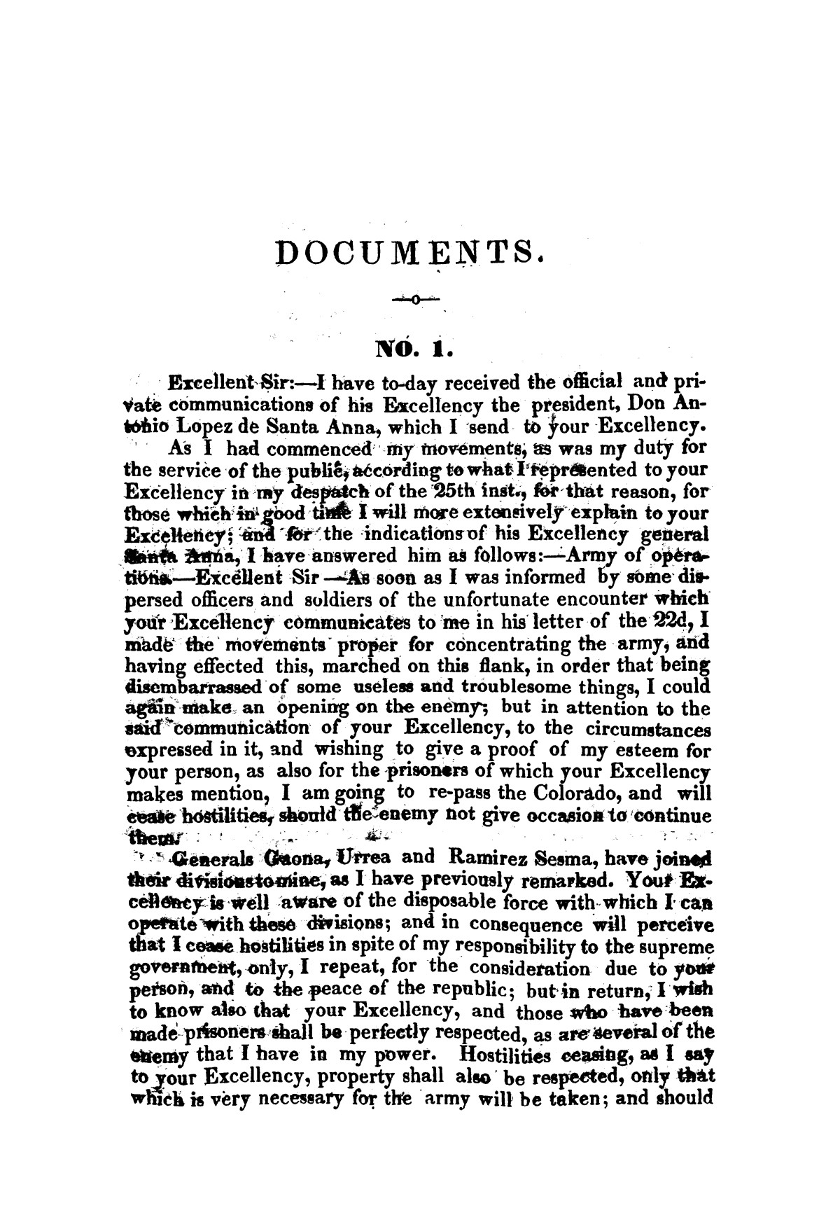 Evacuation of Texas : translation of the Representation addressed to the supreme government / by Vicente Filisola, in defence of his honor, and explanation of his operations as commander-in-chief of the army against Texas.                                                                                                      [Sequence #]: 40 of 72