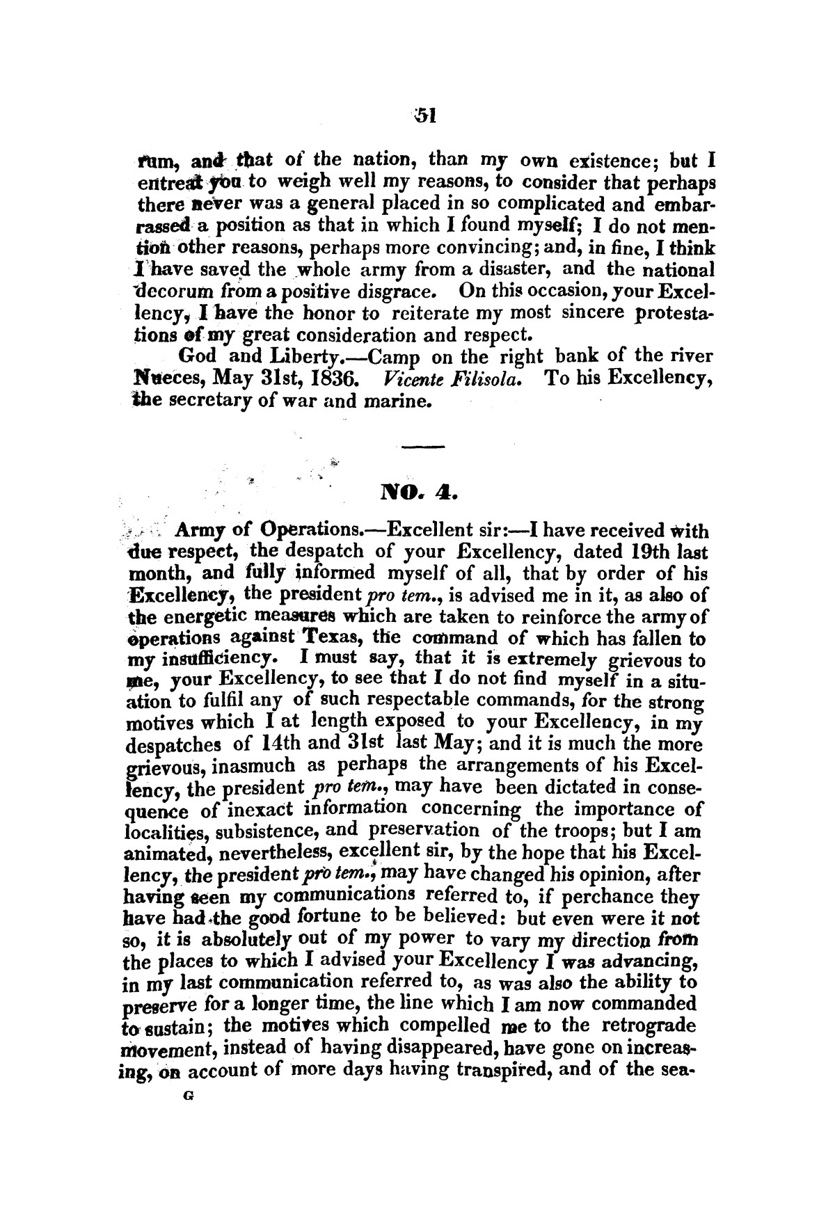 Evacuation of Texas : translation of the Representation addressed to the supreme government / by Vicente Filisola, in defence of his honor, and explanation of his operations as commander-in-chief of the army against Texas.                                                                                                      [Sequence #]: 54 of 72