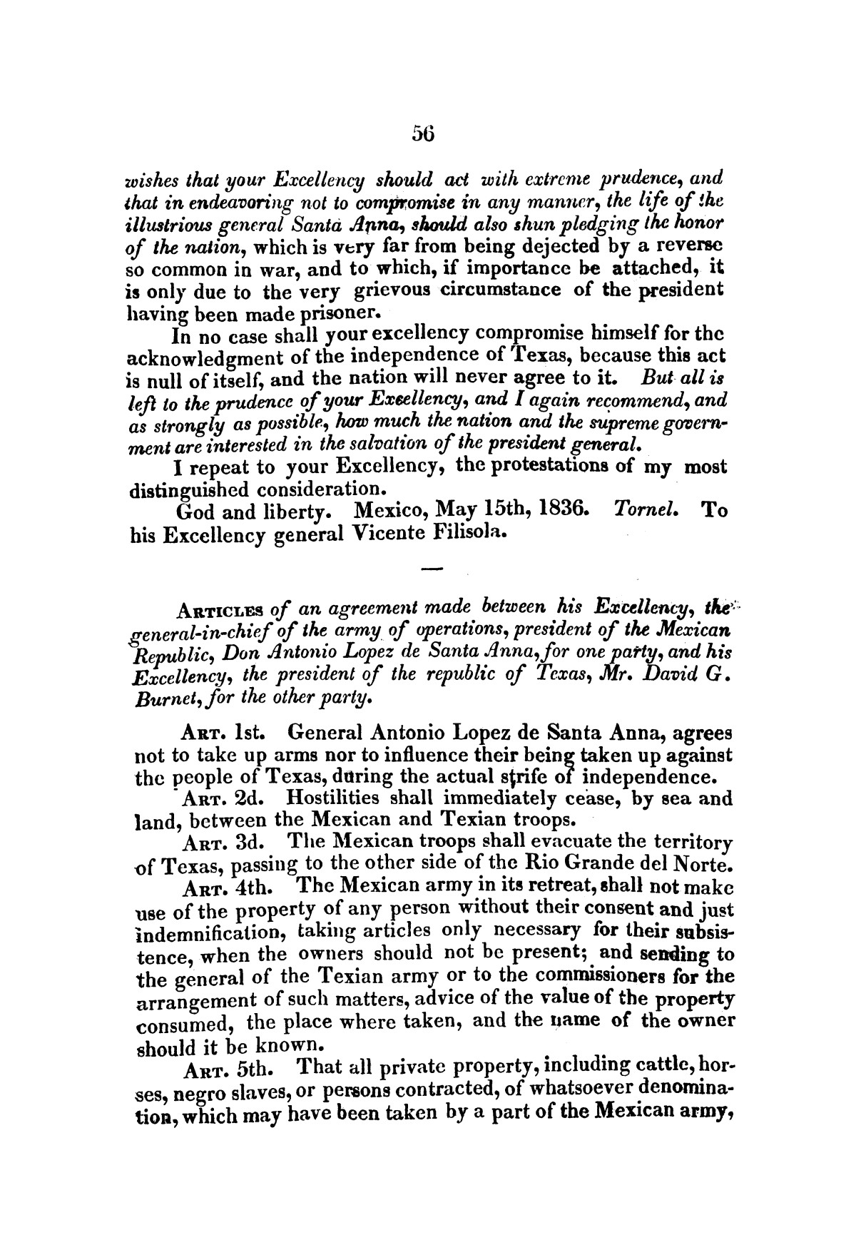 Evacuation of Texas : translation of the Representation addressed to the supreme government / by Vicente Filisola, in defence of his honor, and explanation of his operations as commander-in-chief of the army against Texas.                                                                                                      [Sequence #]: 59 of 72