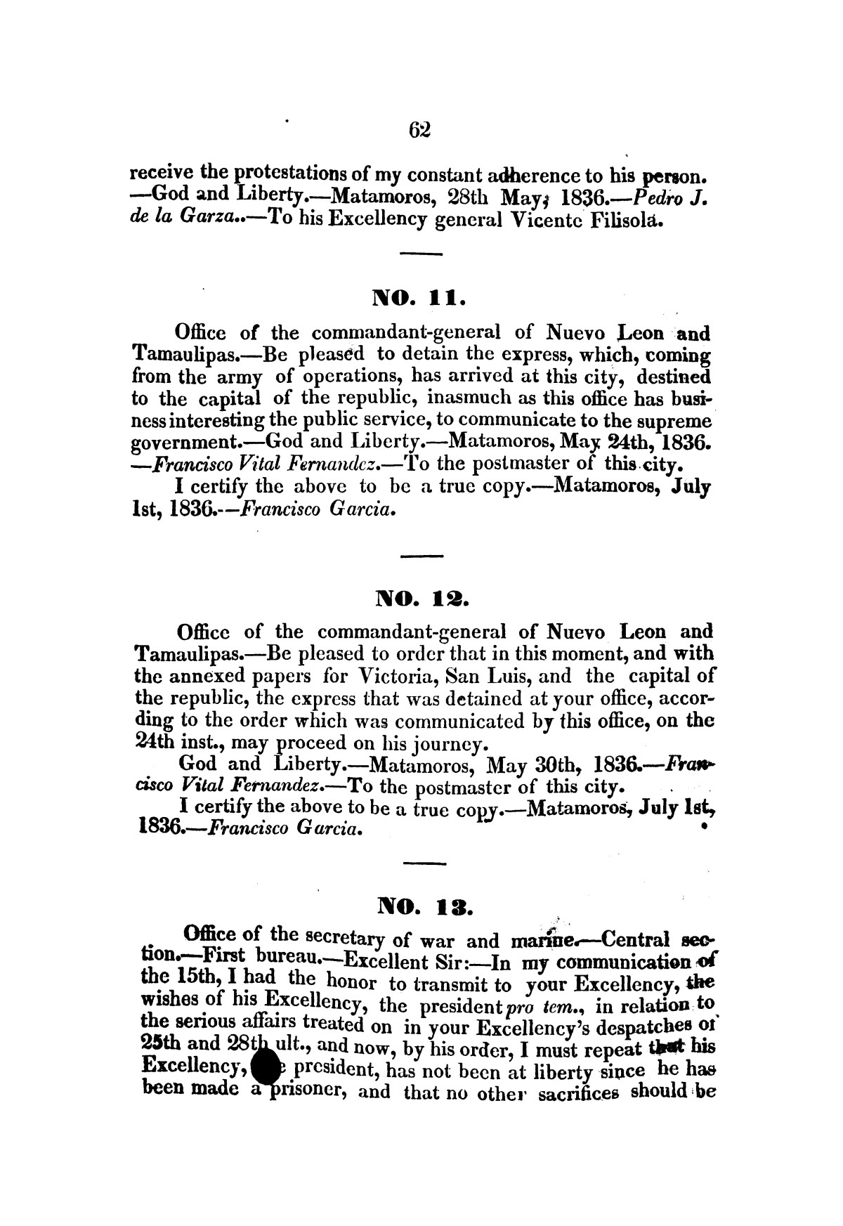 Evacuation of Texas : translation of the Representation addressed to the supreme government / by Vicente Filisola, in defence of his honor, and explanation of his operations as commander-in-chief of the army against Texas.                                                                                                      [Sequence #]: 65 of 72