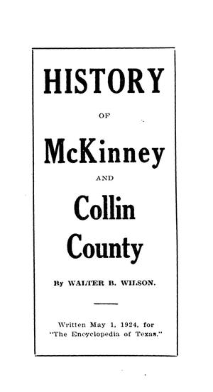 Primary view of object titled 'History of McKinney and Collin County'.