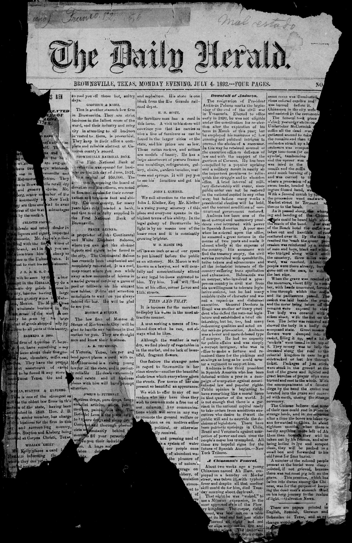 The Daily Herald (Brownsville, Tex.), Vol. 1, No. 1, Ed. 1, Monday, July 4, 1892                                                                                                      [Sequence #]: 1 of 2