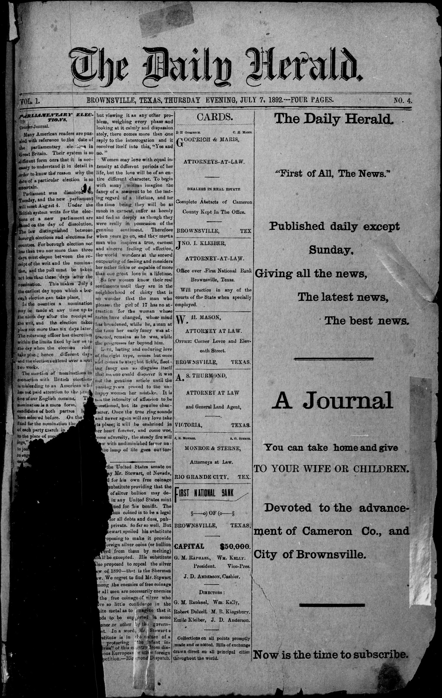 The Daily Herald (Brownsville, Tex.), Vol. 1, No. 4, Ed. 1, Thursday, July 7, 1892                                                                                                      [Sequence #]: 1 of 4